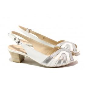 Дамски сандали - естествена кожа - бели - EO-13841