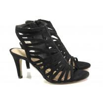 Дамски сандали - висококачествен еко-велур - черни - EO-13838
