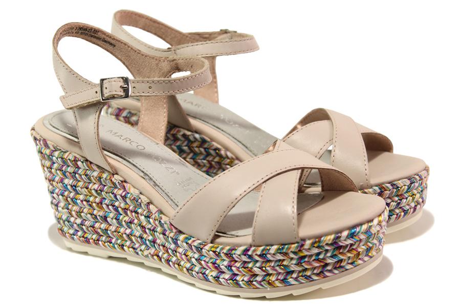 Дамски сандали - естествена кожа - розови - EO-13837