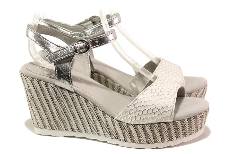 Дамски сандали - висококачествена еко-кожа - бели - EO-13833