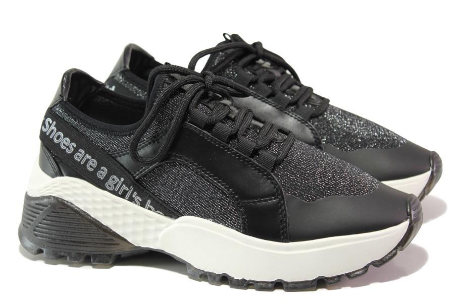 Дамски маратонки - еко-кожа с текстил - черни - EO-13737