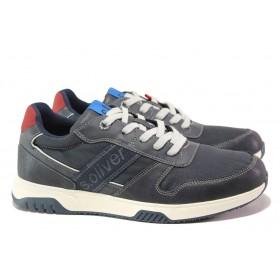 Спортни мъжки обувки - еко-кожа с текстил - тъмносин - EO-13748