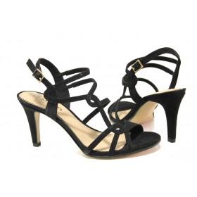 Дамски сандали - висококачествен еко-велур - черни - EO-13831
