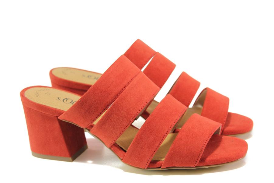 Дамски чехли - висококачествен еко-велур - червени - EO-13844