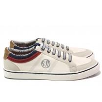 Спортни мъжки обувки - еко-кожа с текстил - бели - EO-13745