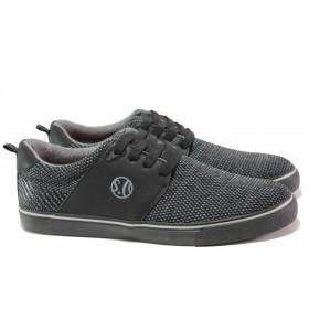 Спортни мъжки обувки - еко-кожа с текстил - черни - EO-13743