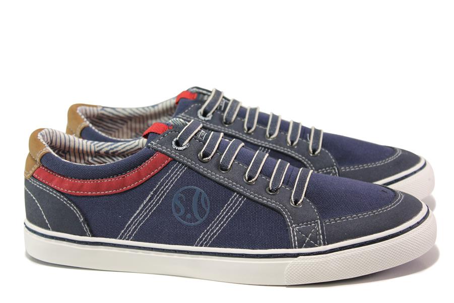 Спортни мъжки обувки - висококачествен текстилен материал - тъмносин - EO-13798
