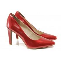 Дамски обувки на висок ток - еко кожа-лак - червени - EO-13772