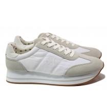 Равни дамски обувки - висококачествен текстилен материал - бели - EO-13794