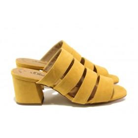 Дамски чехли - висококачествен еко-велур - жълти - EO-13843