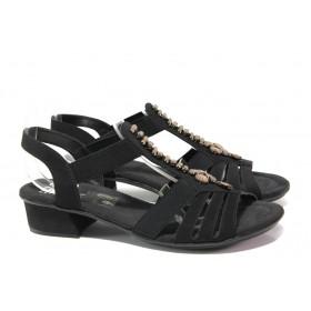 Дамски сандали - висококачествена еко-кожа - черни - EO-13842