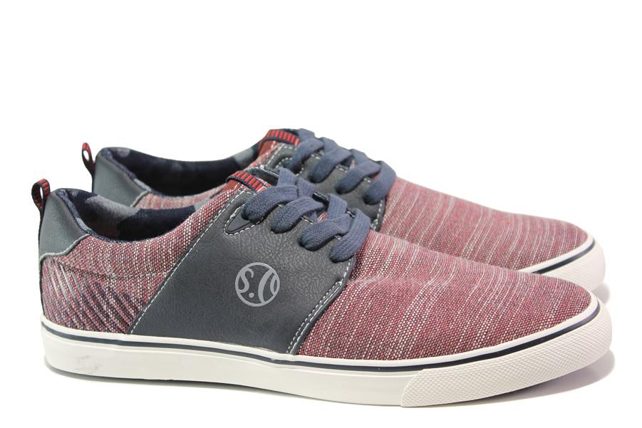 Спортни мъжки обувки - висококачествен текстилен материал - червени - EO-13796