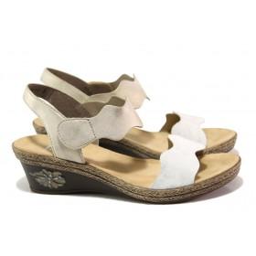 Дамски сандали - висококачествена еко-кожа - бели - EO-13848
