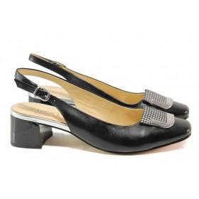 Дамски обувки на среден ток - естествена кожа - черни - EO-13786