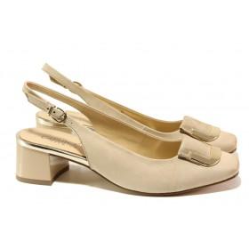 Дамски обувки на среден ток - естествен набук - бежови - EO-13785