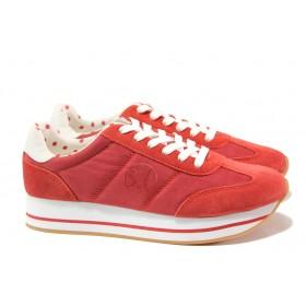 Равни дамски обувки - висококачествен текстилен материал - червени - EO-13793