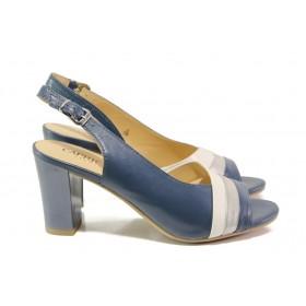 Дамски сандали - естествена кожа - тъмносин - EO-13850