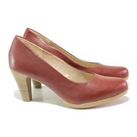 Дамски обувки на висок ток - естествена кожа - бордо - EO-13789