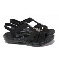 Дамски сандали - висококачествена еко-кожа - черни - EO-13846