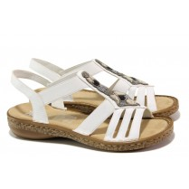 Дамски сандали - висококачествена еко-кожа - бели - EO-13847