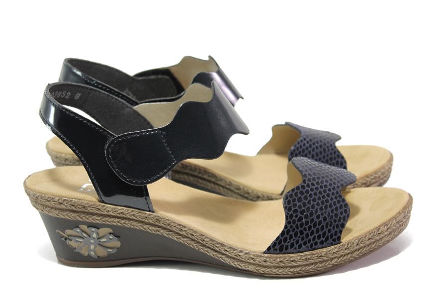 Дамски сандали - висококачествена еко-кожа - тъмносин - EO-13849