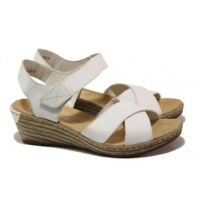 Дамски сандали - естествена кожа - бели - EO-13861