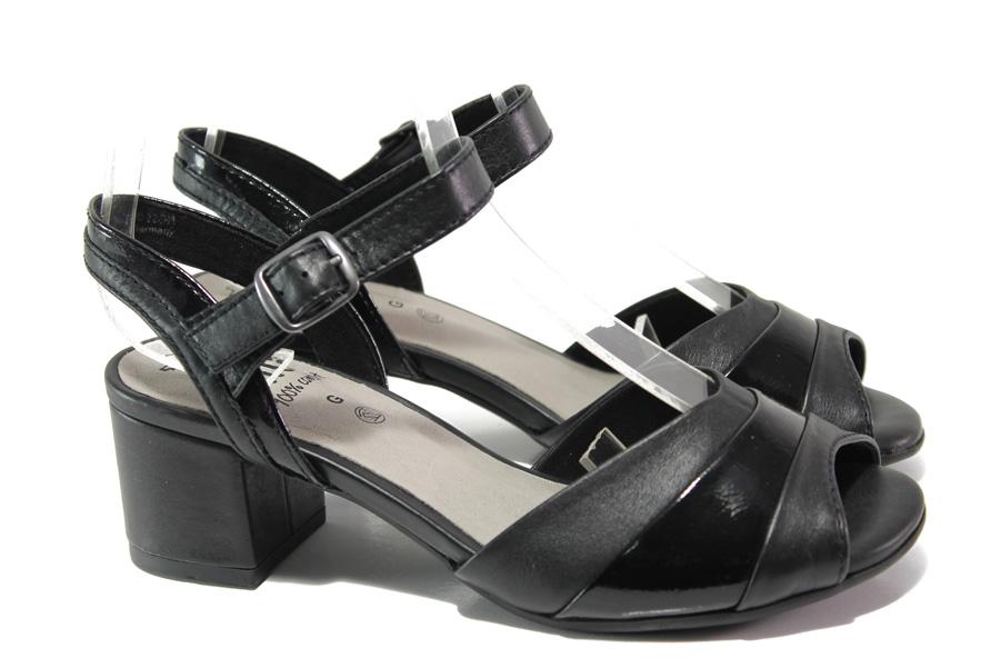 Дамски сандали - естествена кожа - черни - EO-13858