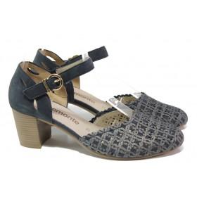 Дамски обувки на среден ток - естествена кожа - тъмносин - EO-13855