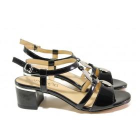 Дамски сандали - естествена кожа-лак - черни - EO-13863