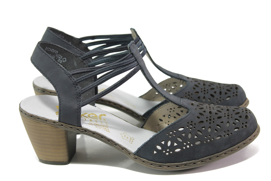 Дамски обувки на среден ток - естествена кожа - тъмносин - EO-13868