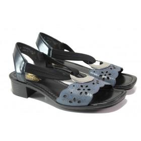 Дамски сандали - естествена кожа - тъмносин - EO-13870