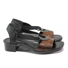 Дамски сандали - висококачествена еко-кожа - кафяви - EO-13869