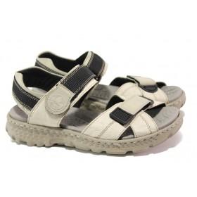 Дамски сандали - висококачествена еко-кожа - бежови - EO-13881