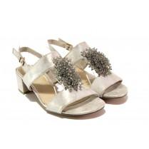 Дамски сандали - висококачествен еко-велур - бежови - EO-13865