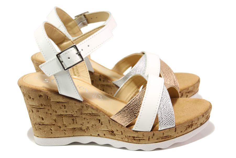 Дамски сандали - висококачествена еко-кожа - бели - EO-13867