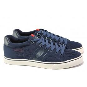 Спортни мъжки обувки - висококачествен текстилен материал - тъмносин - EO-13824