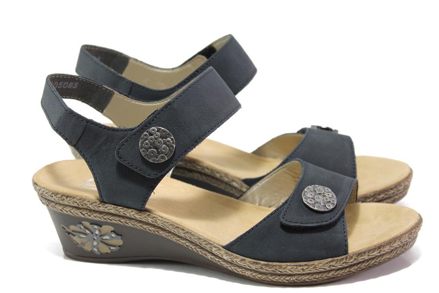 Дамски сандали - естествена кожа - тъмносин - EO-13878