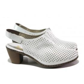 Дамски обувки на среден ток - естествена кожа - бели - EO-13876