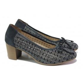 Дамски обувки на среден ток - естествена кожа - тъмносин - EO-13886