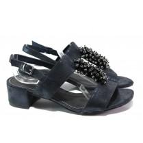 Дамски сандали - висококачествен еко-велур - тъмносин - EO-13864