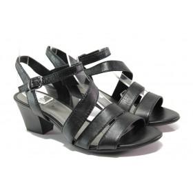 Дамски сандали - естествена кожа - черни - EO-13882