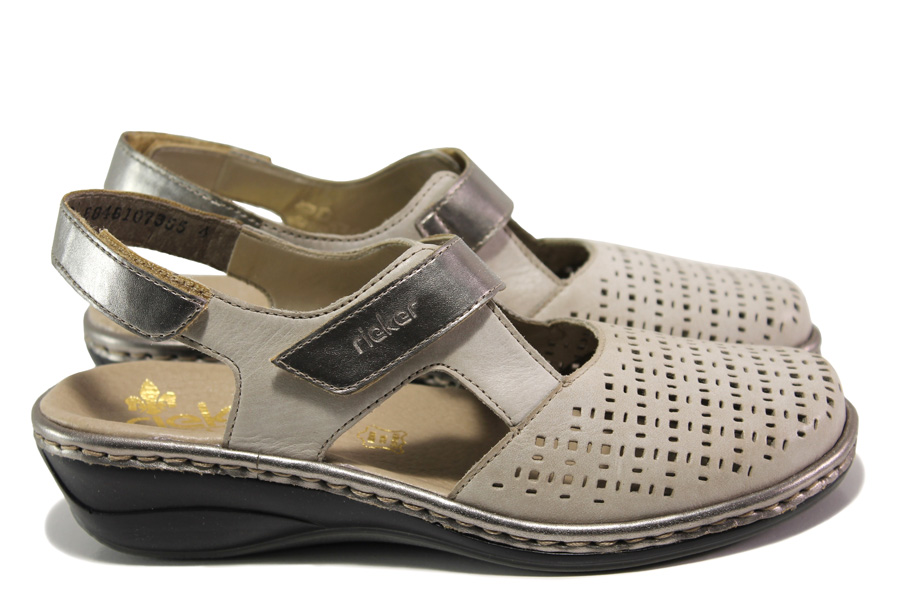 Равни дамски обувки - естествена кожа - сиви - EO-13875
