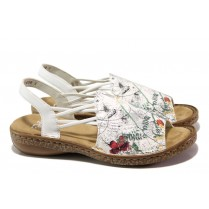 Дамски сандали - висококачествена еко-кожа - бели - EO-13880