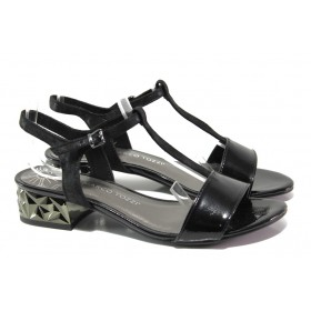 Дамски сандали - висококачествена еко-кожа - черни - EO-13917