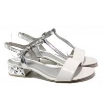 Дамски сандали - висококачествена еко-кожа - бели - EO-13916