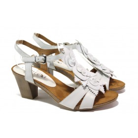 Дамски сандали - естествена кожа - бели - EO-13918