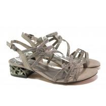Дамски сандали - висококачествен еко-велур - бежови - EO-13915