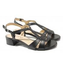 Дамски сандали - естествена кожа - черни - EO-13911