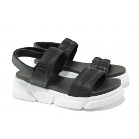 Дамски сандали - еко-кожа с текстил - черни - EO-13927