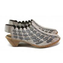 Дамски обувки на среден ток - естествена кожа - сиви - EO-13925